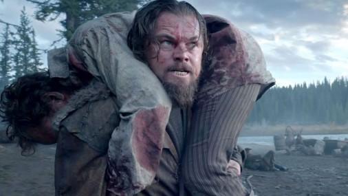 Leonardo di Kaprio kinolentē «The Revenant» («Cilvēks, kurš izdzīvoja»)