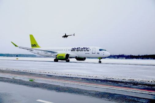 Bombardier CS300 ierašanās Rīgā 2016. gada 30. novembrī