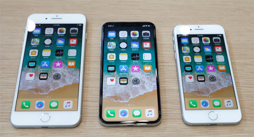 No kreisās: iPhone 8 Plus, iPhone X un iPhone 8
