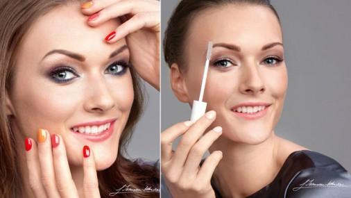 Laura Ikauniece-Admidiņa kā kosmētikas modele