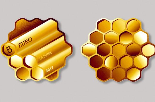 """Latvijas Bankas konkursā par inovatīvāko monētu uzvar """"Medus"""" monēta"""