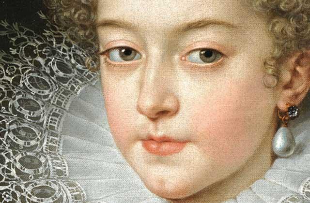 Franss Purbuss Jaunākais (1569–1622). Francijas Izabella, Spānijas karaliene. Ap 1615. Audekls, eļļa, 61x51 cm. Prado Nacionālā muzeja kolekcija. Fragments