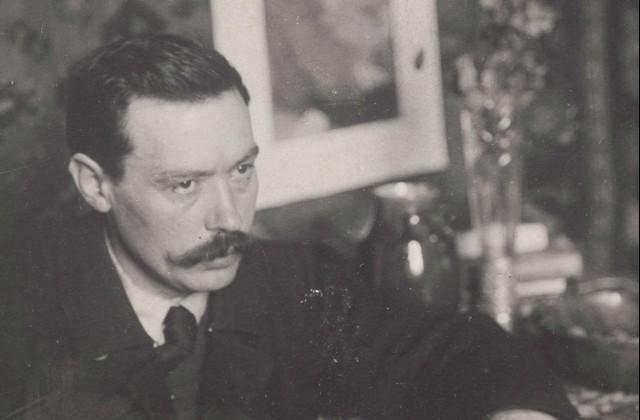 Janis Rozentāls savā darbnīcā Alberta ielas dzīvoklī ap 1905. – 1906. gadu