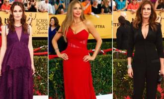 Aktieru ģildes balvas sarkanā paklāja kleitu krāsu palete