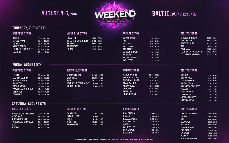 «Weekend Festival Baltic» programma