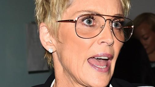 Šēronas Stounas lietišķais feministes stils: brilles un kostīms