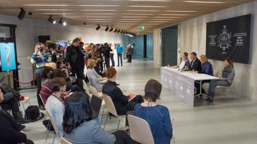 Latvijas paviljona Venēcijas mākslas biennālē idejas atklāšanas preses konference
