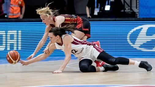 EČ spēle basketbolā sievietēm: Latvija - Beļģija