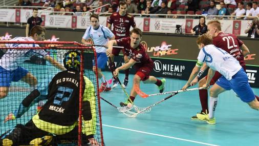 Чемпионат Мира по флорболу в Риге: Латвия-Словакия