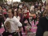 Jocīgie Austrumi: Ķīnā uzstādīts rekords - masveida jogas nodarbība ar suņiem
