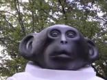 Рижане и гости города о новом памятнике обезьяны в скафандре