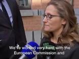 Tik tikko valdot asaras, vīlusies Kanādas ministre par brīvās tirdzniecības līgumu ar ES