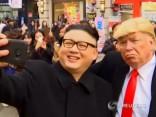Kima Čenuna un Donalda Trampa dubultnieki izklaidējas Seulā