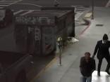 ASV bezpajumtnieku krīzes seja: vīrietis uzvalkā garāmejot iesper guļošajam